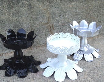 Black White and Silver Floral Candle Holder Set Shiny Hollywood Regency Home Decor