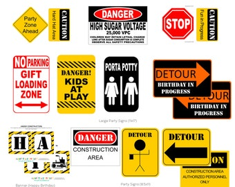 Construction Birthday Large Party Signs Under Construction Party Printables IMMEDIATE Download