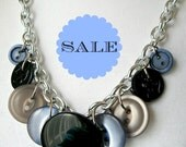 Navy and Black Button Statement Necklace - Vintage Button Bib Necklace in Black, Blue and Grey