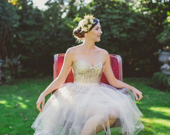 Short Blush Sequin Dress, Bridesmaid Dress with Tulle tutu, Short Wedding Dress, Modern Simple Wedding Gown, Eco Friendly, Made to Order