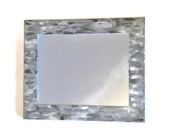 Grey Beach themed bathroom Mirror, Shabby Chic, Hand Painted Ornate Hanging Mirror