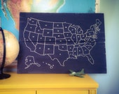 Hand Painted USA Chalkboard Map (LARGE) on reclaimed wood