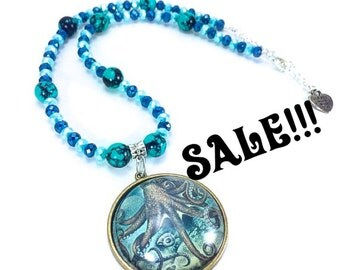 SALE Octopus Necklace, Octopus Pendant, Ocean Necklace, Beach Necklace, Hippie Necklace