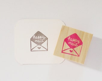 Happy Mail Envelope Hand-Carved Rubber Stamp