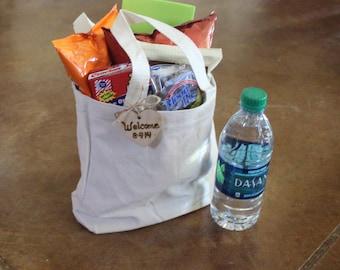Custom Welcome Bag Favor Bag Gift Bag Rustic Wedding DecorWood Dress or Heart Charm