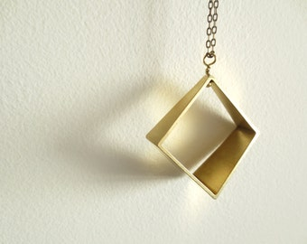 Square Prism Long Necklace - Mixed Metals