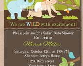Modern Safari baby shower invitation, Jungle animal theme, first birthday invitation for boy or girl, dark skin baby available