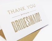 Thank you for being my bridesmaid card - bridesmaid thank you card wedding- Pack of 5 Bridesmaid Cards