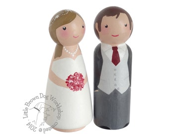 Custom hand painted peg doll bride & groom wedding cake topper, keepsake ornament - wooden people peg, peg doll and wood doll decorations