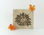 Flower Press - Wood Pyrography - Floral Design Plant Press