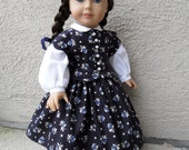 Navy Blue Floral 1860s Dress for 18 inch doll