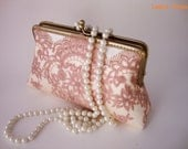 Vintage inspired Bridal accesories / rose gold wedding Lace clutch purse with handle chains / Bridesmaid gift /Bridal Party