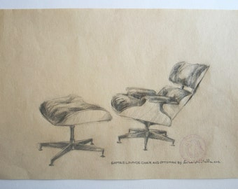 Original Drawing, Eames Love (Lounge Chair and Ottoman), 2013.
