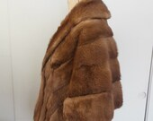 Vintage Mink Fur Stole 1950s with Collar and Pockets Brown Sleeve Pockets