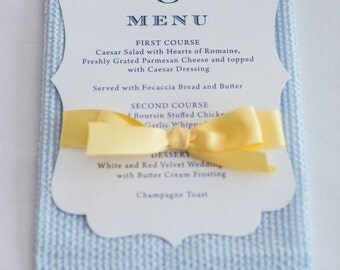 Wedding Menu Cards, Classic Style, CHOOSE COLORS, Wedding Invitation, Menu, Place Cards, Wedding Table Setting