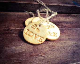 Gold Gift Tags, Golden Tags, Love Clay Gift Tags, Wedding Gift Tags, Wedding Favor Tags, Christmas Tags