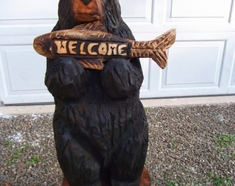 """36"""" Chainsaw Carved Bear Holding Fish"""