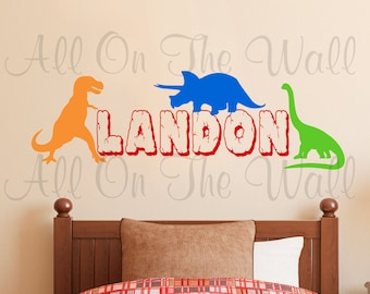 Dinosaur Wall Decal Boy Name Bedroom Decals Nursery Decor Decals For Kids  Boy Name Wall Decal