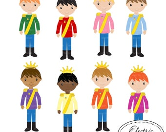 Prince - Clip Art Set 1 - Cute Boy Prince with Crown  Princes Clip Art Set 01