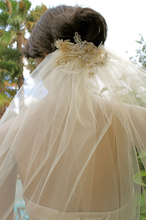 Champagne Tulle Veil With Lace Leaf Applique 39 Bridal Veil