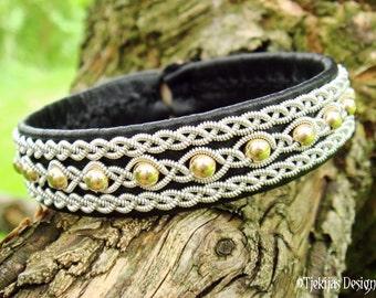Swedish Sami Lapland Reindeer Black Leather Cuff Bracelet YDUN 14K Goldfilled Beads braided into Spun Pewter Silver Wire