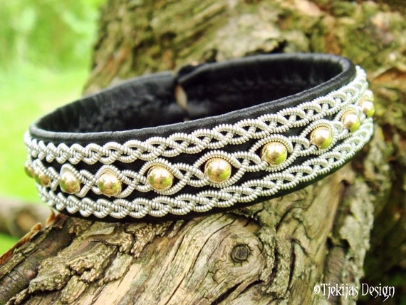 Swedish Sami Lapland Reindeer Black Leather Cuff Bracelet YDUN 14K Goldfilled Beads braided into Spun Pewter Silver Wire