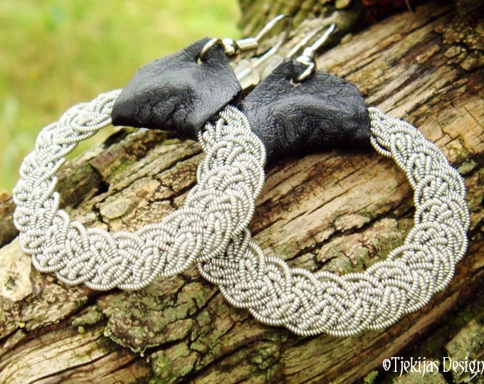 Swedish Sami Earrings VIMUR Scandinavian Viking Jewelry Handcrafted in Spun Pewter Silver wire, Silksoft Reindeer Leather and Steel Earwires