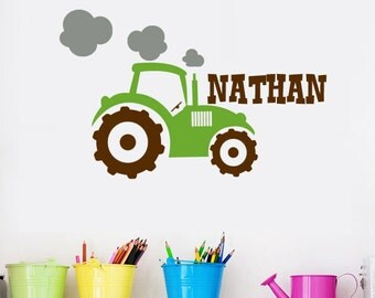Tractor Name Wall Decal, Farm Wall Decal for Boys, Boys Tractor Personalized Sticker, Nursery Tractor Vinyl, Boys Wall Name, Red Tractor