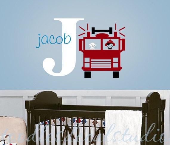 Name Wall Decals For Nursery Tags: Fire Truck Wall Decal Kids Personalized By ToodlesDecalStudio