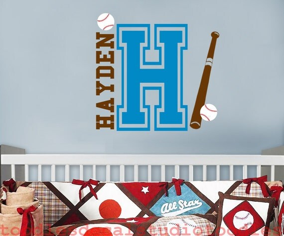 Sports themed wall decor nursery : Items similar to baseball wall decal nursery name decals