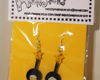 Yellow Eggs in a Frying Pan earrings made from tiny toys and buttons