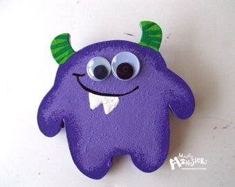Monster brooch purple BUBBA, wood handpainted brooch,      purple monster pin, BUBBA monster purple, purple green monster brooch
