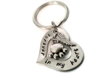 """Personalized Pet Memorial Key chain, Hand Stamped sympathy gift for Women or Men """"forever in my heart"""" with paw print and angel wing"""