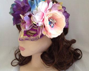 Pastel Flower Rhinestone Masquerade Mask with Rhinestone Base Fascinator