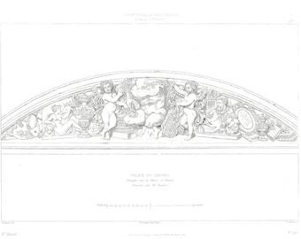 1856 Architectural Ornament,  Louvre, Paris, France, Black and White Engraving, Antique Architecture Print