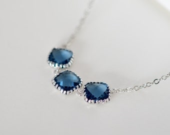 SALE, Simple Triple Sapphire Blue necklace, Silver necklace, Wedding necklace, Bridal jewelry, Bridesmaid gift, Anniversary gift, Vintage