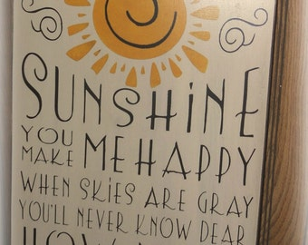 Large Wood Sign. You Are My Sunshine Subway Sign. hand painted sign