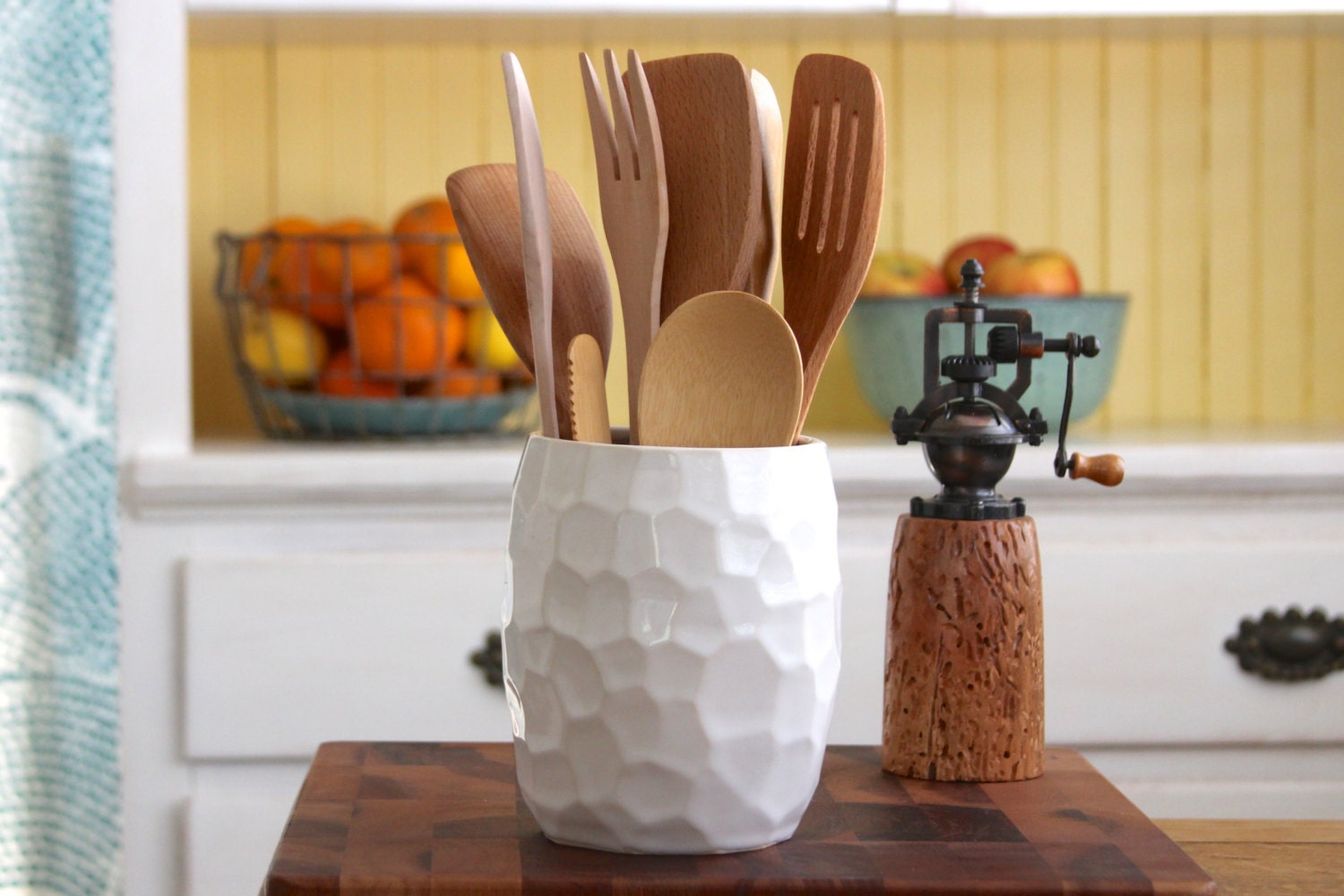 Utensil holder hand carved geometric modern kitchen home for Kitchen utensil holder