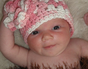 Crochet Baby Hat with Flower, Crochet Baby Hat, Newborn Hat, Baby Hat, Pink Hat, Hat with Flower, Baby Girl Hat, Infant Hat