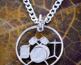Drumset necklace, drums handmade music jewelry
