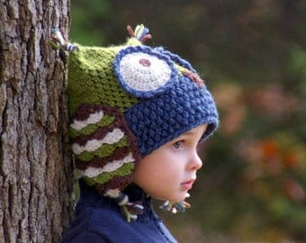 Crochet Hat Patterns - Owl Hat - five sizes included from baby to adult - Instant Download - pattern number 121 L