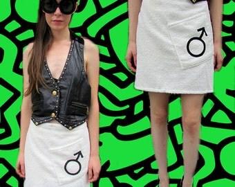 White Terry Cloth Towel Mod Wraparound Beach Male Symbol Skirt