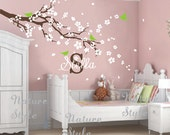 flowers wall decals cherry blossom vinyl wall decals baby girl nursery room wall sticker kids name wall decal-plum blossom with Flying Birds