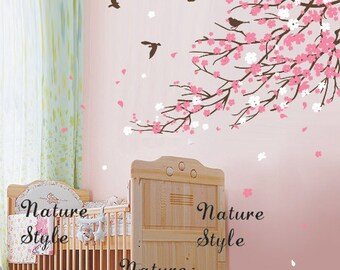 Cherry blossom branches and birds -Nursery wall decal baby girl room wall decals flowers cherry blossom wall sticker wedding office sticker