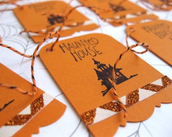Haunted House Silhouette Gift Tags-12 Orange & Black w/ Glitter, Twine-Handstamped Halloween-Fall Party Favors-Treat Bags-Autumn Gift Wrap