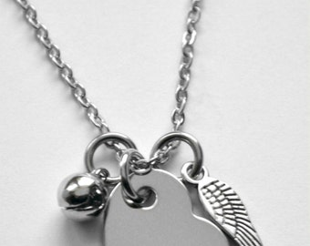 Memorial Necklace or bracelet - Mother Necklace - Angel Wing Necklace - Angel bell necklace - It's a Wonderful Life - any text that fits