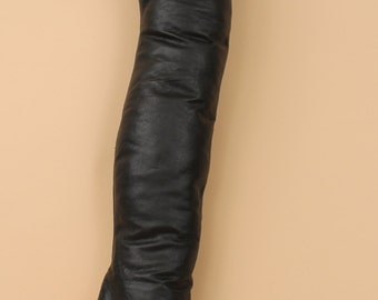 70s 80s Vtg Black Soft LEATHER Couture Thigh High Over the Knee Tallest Boot / FETiSH Stiletto Master Slave Spike Heel / Mint! / 5 - Eu 35