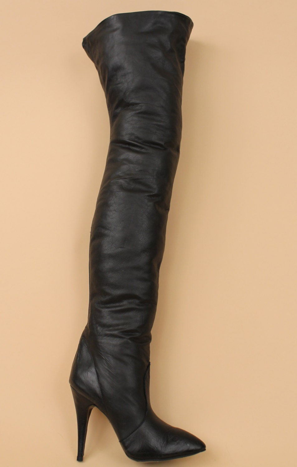 70s 80s vtg black soft leather couture thigh high by nanometer