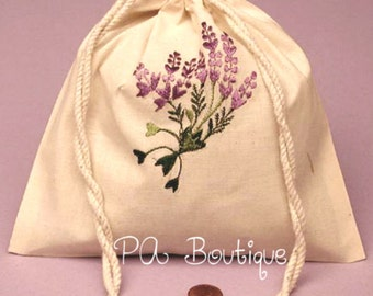 "6ct. ""Lavender Flowers"" Embroidered Cotton Muslin Pouch Bags with Double Knotted Draw Strings (Free Shipping!)"