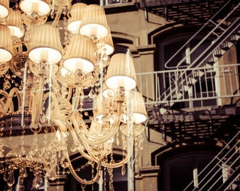 Industrial Rustic Modern Chandelier Photography Art Print Window Reflection Architecture Fire Escape New York City NYC Antique Chandelier
